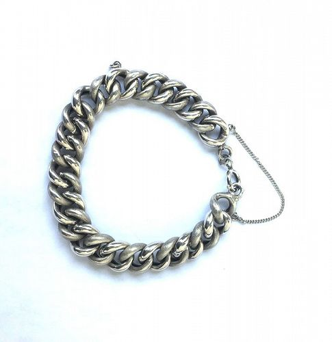 French curb chain silver bracelet, c 1880