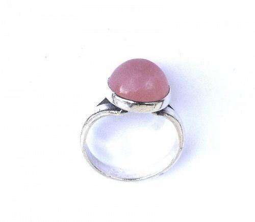 Niels Erik From, Danish modernist ring, sterling and rose quartz