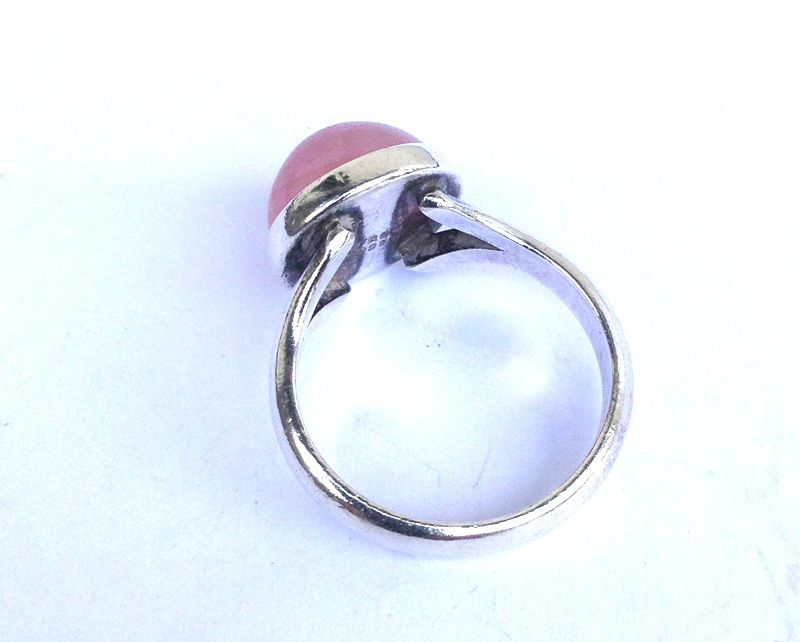 N E From, Denmark: sterling and rose quartz modernist ring