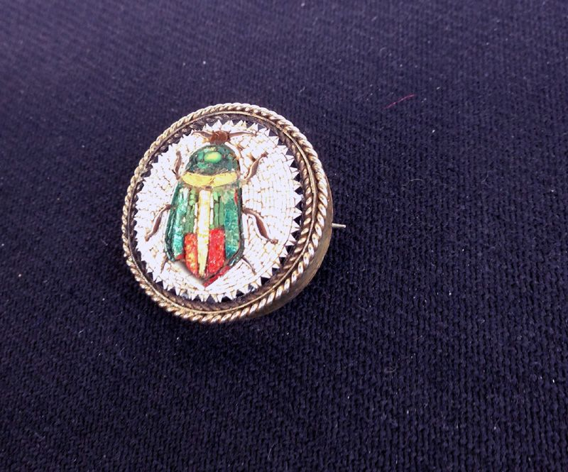 Scarab beetle brooch, micro mosaic and low carat gold