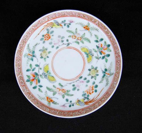 Chinese Export bird and butterfly saucer plate