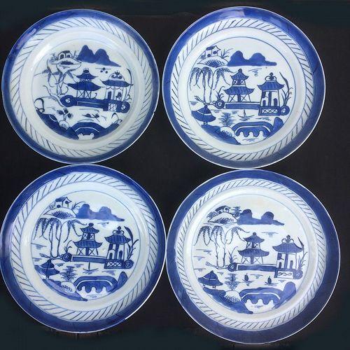 Four Canton blue & white Rain & cloud plates, mid19th century