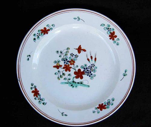 English salt-glazed and enameled plate, c 1800