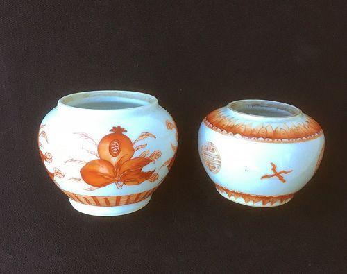 Rouge de fer / Iron-red jars / bowls with Shou and Sanduo, Guangxu