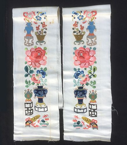 Chinese embroidered silk sleeve bands with �forbidden stitch�