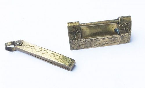 Chinese brass box padlock with a bird and a dragon