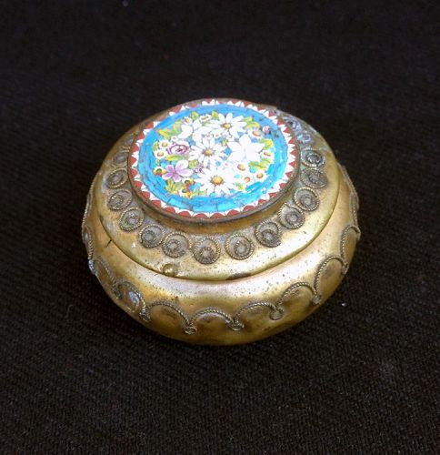 Micro mosaic and gilt metal filigree pill box