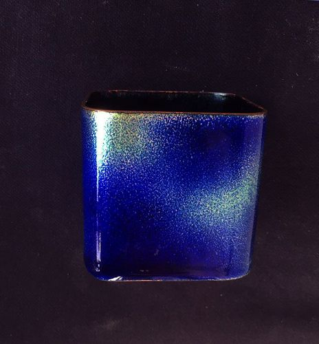 Vase by Paolo de Poli, enamel on copper, 1950's
