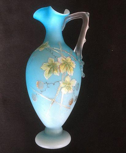 Bohemian Harrach blue satin overlay thorn handled ever vase