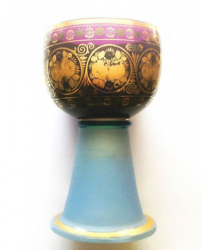 French Desvignes gold and silver leaf decorated opaline gobelet