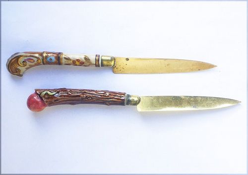 German Jugendstil fruit or cheese knives from Stahl Bronce