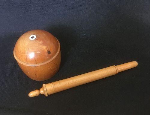 Treen: a burl wood thread box & crochet hook or needle case
