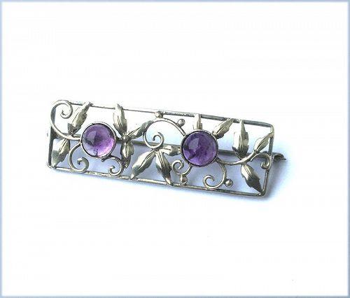 Art Nouveau / German Jugendstil brooch, silver and amethyst