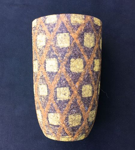 Aldo Londi for Bitossi, a vase in orange and yellow, mid-century
