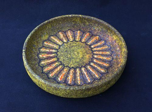 Aldo Londi for Bitossi, Lava glaze and sunburst bowl, mid-century