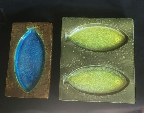 "Aldo Londi, Bitossi, for Danish Illums: ""Fritte"" stoneware and glass"