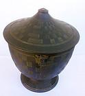 Black basalt sugar bowl and cover