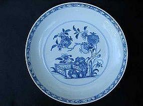 Blue and white bowl/charger, Kangxi to Yongzheng