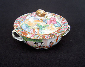Rose mandarin soup bowl, ecuelle, and cover