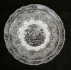 Park Scenery transfer printed Victorian plates, Staffordshire, 1870's