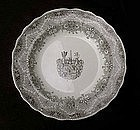 Park Scenery transfer printed and crested Victorian soup plate, 1870's