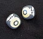 Ceramic clip earrings by Astrid Tjalk, Fyrbo, Denmark, c 1950