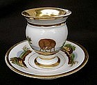 French cabinet cup and saucer with fox & rocks