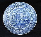 Blue and white Spode�s Italian plate, c 1880
