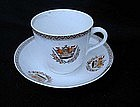 British cup and saucer with naval crest