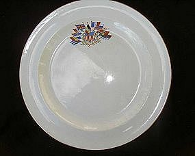 Crested US Allies bread dishes, by Wedgwood