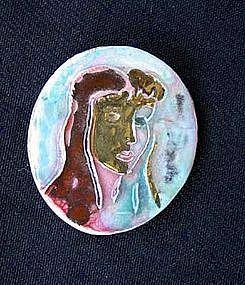 Vintage Provencal lady ceramic pendant
