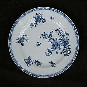 Blue and white Kangxi plate with a butterfly