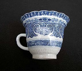 Blue and white Chinese Export coffee cup, Qianlong