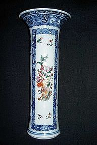 Chinese blue and white, enameled trumpet vase