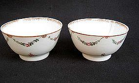 Chinese Export Famille Rose tea bowls