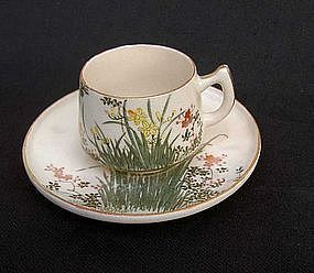Japanese Satsuma cup and saucer, Taisho