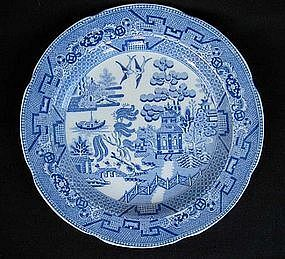 English blue and white Willow plate, early 19th c