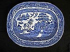 English blue and white Willow platter,Victorian