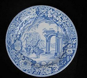 English Blue and white transfer printed plate by Clews