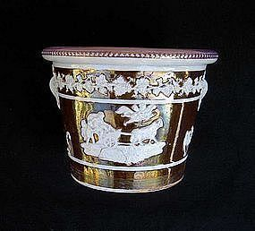 English lustreware cache-pot Wedgwood style, Georgian