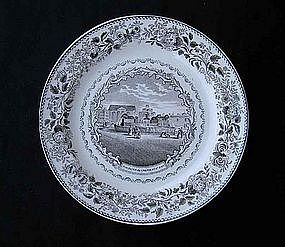 French Montereau transfer printed plate: Paris motif, early 19th c