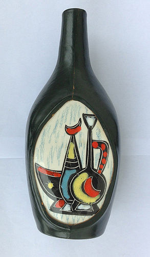 Italian vintage leather covered bottle vase