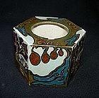 Rozenburg ink pot with flower pattern