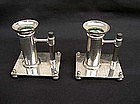 Silver nickel candle holders, Dresser style, late 19th century