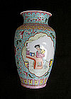 Famille Rose 20th c vase in the Chinese taste