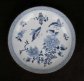 Chinese blue and white dish or bowl, early 18th century
