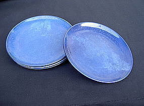 Four powder blue Chinese dishes, Guangxu c 1900