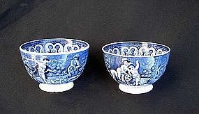Pair of English blue & white transfer printed tea bowls, Georgian
