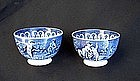 Pair of English blue & white transfer printed tea bowls, Georgian