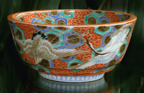 Beautiful Antique Japanese Imari Bowl with Cranes